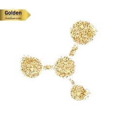 Gold glitter icon of moleculas isolated on vector