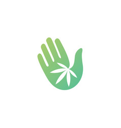 Hand cannabis logo icon vector