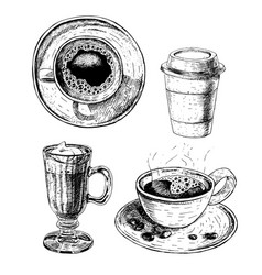 Hand drawn set coffee cup glass cup with latte vector