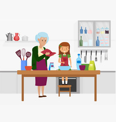 Happy family cook food together grandmother vector