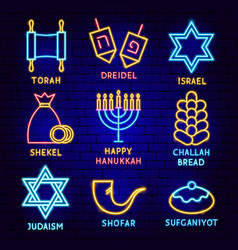 happy hanukkah label set vector image