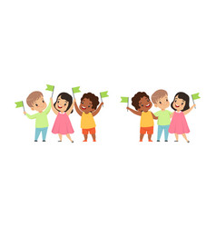 happy multicultural kids standing together with vector image