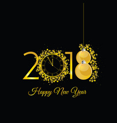 happy new 2018 year gold with clock vector image