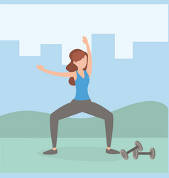 healthy woman lifestyle training exercise vector image