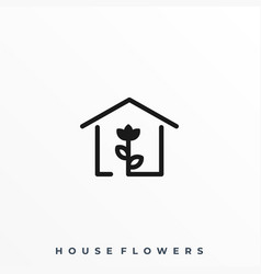 house flowers template vector image