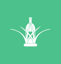 Icon bottle in grass vector