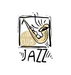 jazz logo design vintage music label element vector image
