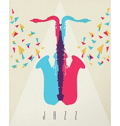 Jazz music saxophone band color concept design vector