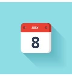 July 8 Isometric Calendar Icon With Shadow vector image