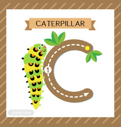 Letter c uppercase tracing caterpillar crawling vector
