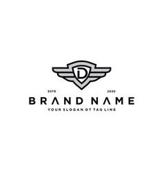 Letter d shield wing logo design concept vector