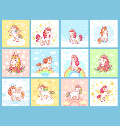 Magic cute baby unicorn on rainbow cartoon vector
