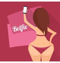 Make belfie photo pretty woman new trend selfie vector
