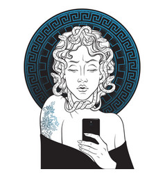 Medusa gorgon selfie hand drawn line art vector