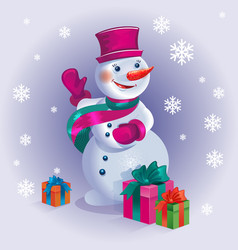 merry christmas poster with snowman and gifts on vector image