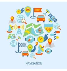 Mobile navigation icons flat vector