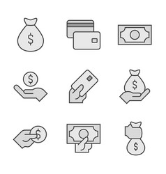 money line icons painted in gray money concept vector image