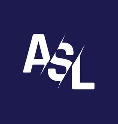 Monogram letters initial logo design asl vector
