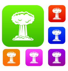 Mushroom cloud set color collection vector