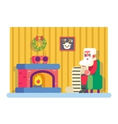 New Year Santa Claus Fireplace Armchair Hold vector image