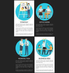 Office work and business idea vertical posters vector