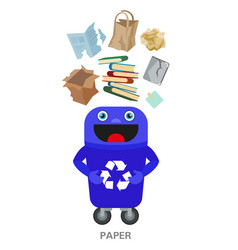 Paper waste black bin waste sorting and recycling vector