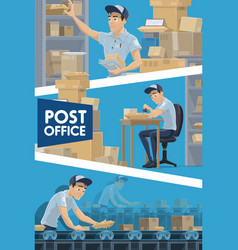 Postmen with parcels and letters at post office vector