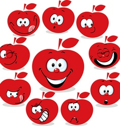 Red apple icon cartoon with funny faces isolated vector