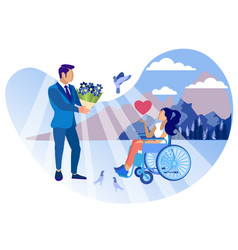 Relationship with disabled girl cartoon flat vector
