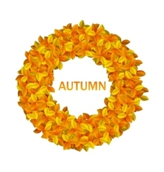 Round Frame from Autumn Orange Leaves vector image
