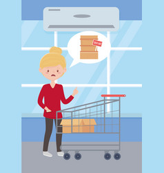 Sad woman with empty shopping cart and box sold vector