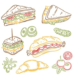 Sandwiches fast food snack vector image vector image
