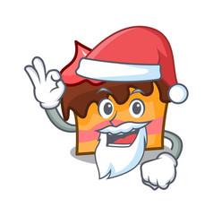 Santa sponge cake mascot cartoon vector