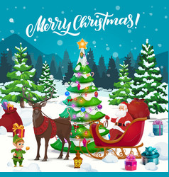 santa with xmas gifts and elf on reindeer sleigh vector image