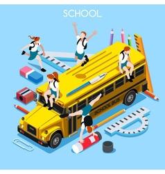 school set 06 people isometric vector image