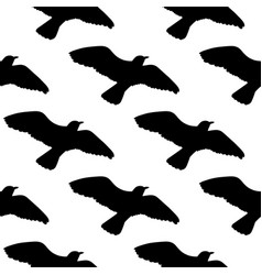 seamless pattern with seagulls silhouettes black vector image