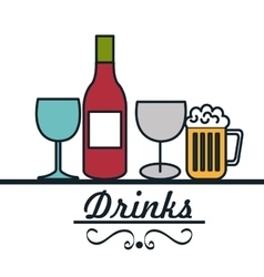 set drinks glass cup design vector image