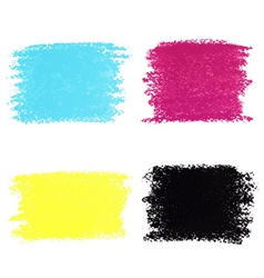Set of CMYK pastel crayon spots isolated on white vector image