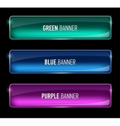 Set of glass green blue and purple banners vector