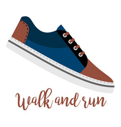 Shoes with text walk and run vector