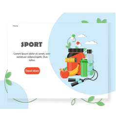 Sports website home page design template vector