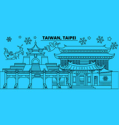 Taiwan taipei winter holidays skyline merry vector