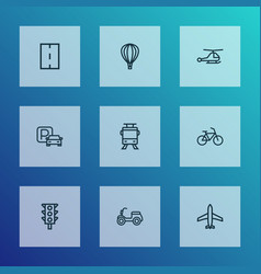Transportation icons line style set with scooter vector
