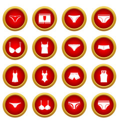 Underwear items icon red circle set vector