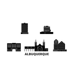 United states albuquerque flat travel skyline set vector