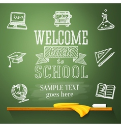 Welcome back to school message on chalkboard with vector image