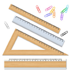 wood school rulers and color paperclips isolated vector image