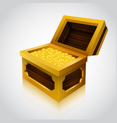 Wooden treasure chest on white background vector