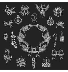 Chalkboard Christmas Design Element Set vector image