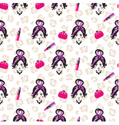 glam girl sketch beauty seamless pattern vector image vector image